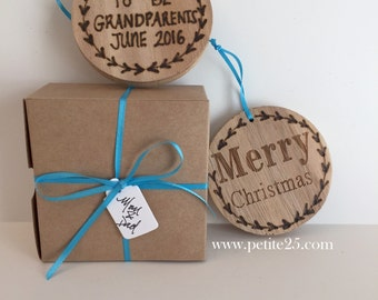 Pregnancy announcement, baby announcement, new baby, new parents, ornament, wooden ornament