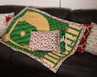 Handmade Baseball Nursery/Toddler Quilt Set with Pillow