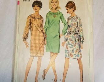 "Simplicity pattern 6621 vintage 1960s dress. Swing dress, A line, Hippie, Mod. Complete. Vintage size 14 with 34"" bust. Longsleeve"