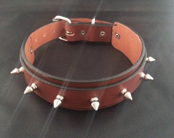 Handmade, Leather, Classy, Spiked, Strap Collar
