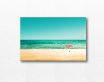 beach umbrella photography canvas print nautical decor 12x18 24x36 fine art photography ocean canvas wrap coastal canvas large beach canvas