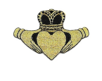 Claddagh - Irish - Love - Loyalty - Friendship - Black & Gold Embroidered Iron On Patch