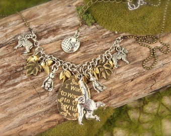 Jane Goodall Inspired Chimpanzee Ape Charm Necklace