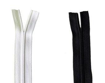 Continuous Zip Black or White  25 mm (no sliders)