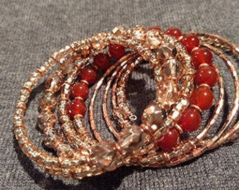 Copper and carnelian beaded bracelet
