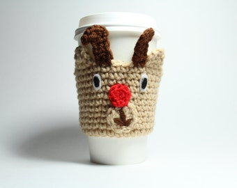 Rudolph Coffee Cozy, Reindeer Can Holder, Christmas Coffee Sleeve, Crochet Drink Cup Holder, Java Jacket