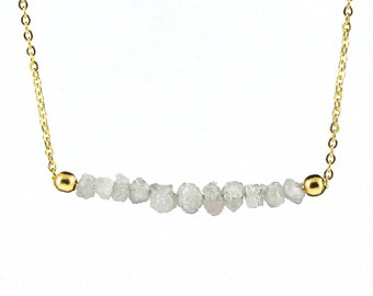White Diamond Necklace in 14K Gold Filled - Rough Uncut Diamonds - Natural Unfinished Raw Diamonds - April Birthstone