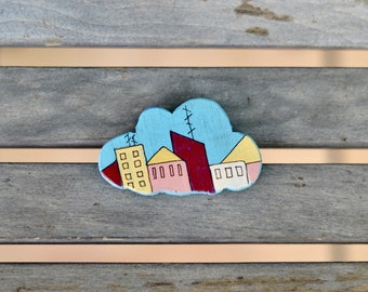Wooden painted cloud pin