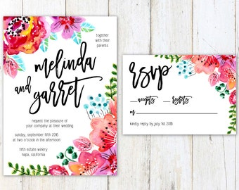 Floral Wedding Invitation, Watercolor Flowers Wedding Invitation, Big Calligraphy Wedding Invite