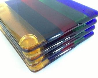 FREE SHIPPING - Rainbow Fused Glass Coasters