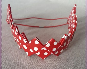 Headband, a band, recycled plastic, red background with white dots