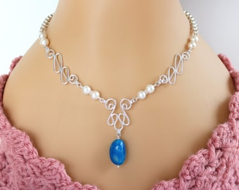 Blue Chalcedony and Pearl Necklace, Blue Chalcedony Necklace, Pearl Necklace, Gemstone Necklace, Sterling Silver Necklace, Bridal Necklace