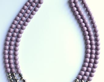 Sally - Purple Statement Necklace Glass Necklace Silver Necklace Bridesmaid Necklace