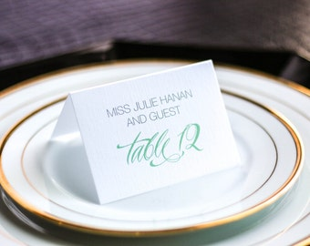 "Classic Tented Wedding Placecards, Aqua Folded Place Setting Cards, Elegant Table Setting - ""Sweeping Script"" Tented Placecard v3- DEPOSIT"