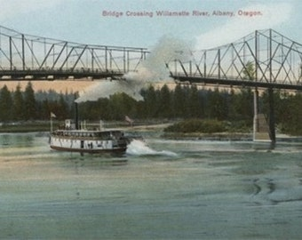 Albany, Oregon - Paddle Boat Crossing Willamette River (Art Prints available in multiple sizes)