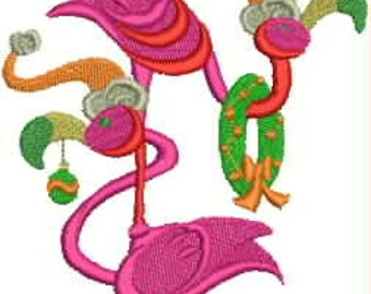 Embroidered Dish Towel - Stacked Holiday Flamingos