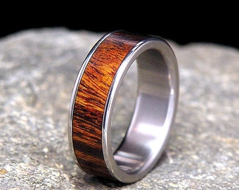 Desert Ironwood Wood InlayTitanium Wood Wedding Band or Ring