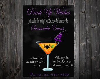 Drink Up Witches Bachelorette Party Invitation