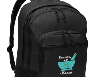 Pharmacy Tech Backpack, Personalized Embroidered, EXCLUSIVE DESIGN