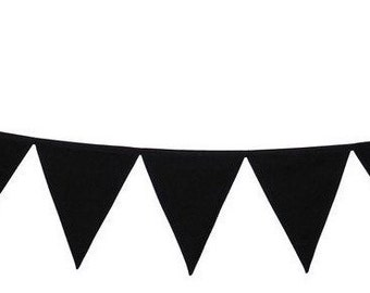 Black Fabric Bunting Banner Flags