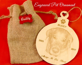 Personalized Pet Ornament, Pet Gift, Dog Ornament, Custom Pet Ornament, Engraved Pet Ornament, Cat Ornament, Christmas Ornament, Paw Print