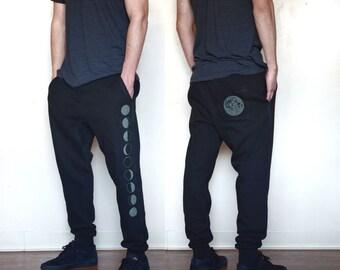 Glow in the dark Moon-phase Joggers - Jogger Sweatpants  - Festival Sweatpants - Mens Jogger Pants - Harem pants
