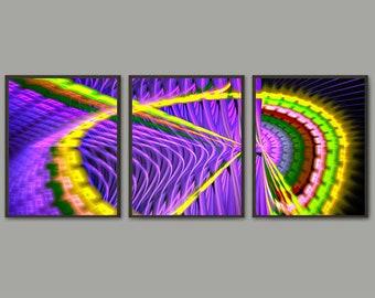 Abstract art purple print set, home decor, purple black colorful art, 3 panel art, fractal art, large wall art, contemporary art, geek gift