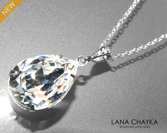 Clear Crystal Silver Necklace Teardrop Crystal Sterling Silver Necklace Swarovski Rhinestone Sparkly Necklace Bridal Pendant Wedding Jewelry