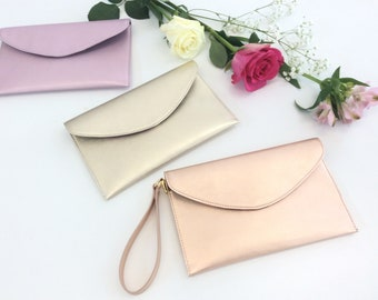 Leather Wristlet Pouch.Envelope leather bag.Leather clutch.Gift.Bridesmaid leather bag purse clutch.Metallic rose gold pouch.Leather pouch.