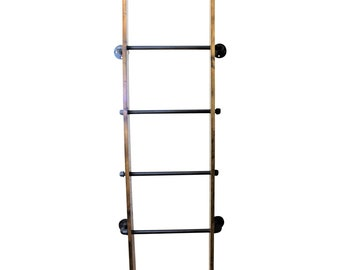 Industrial Pipe and Wood Wall Ladder Blanket