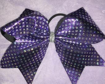cheer bow metallic purple