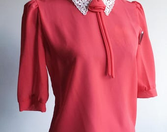 80s Vintage Sheer Red Rayon Rose & Lace Peter Pan Collar Blouse [Never Worn] (m-l) ***REDUCED***