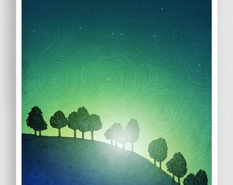 First streak of dawn (green version) - Mixed media illustration Nature Art Prints Posters Home decor Living room decor Blue Art for sale