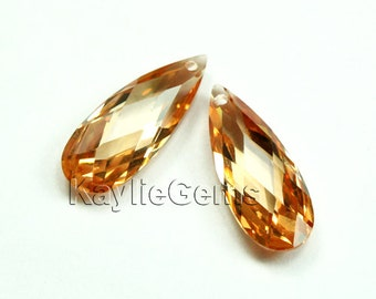 20x8x5mm Cubic Zirconia CZ Faceted Flat Briolette Tear Drop - Champagne - 1pc