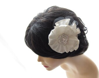 White Flower Hair Comb - White Swan - Bridal Head Piece