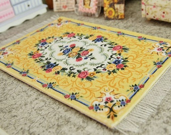 Beautiful Yellow Floral Bunch Miniature Victorian Area Rug