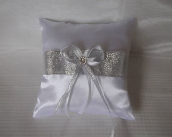 Pillow wedding ring pillow white satin and silver