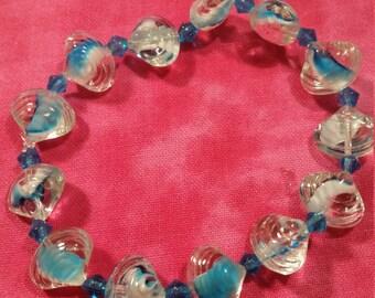 Glass Sea Shell Beaded Stretch Bracelet