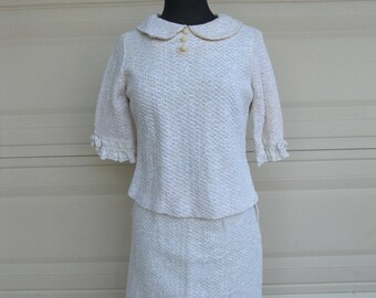 Vintage 60s Crochet Dress . Two Piece Skirt and Top by Toni Todd