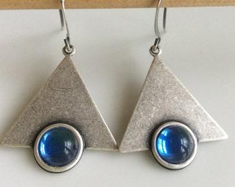 Geometric Triangle Earrings  Modern Look  Oxidized Silver Earrings  Bohemian Earrings Blue Glass Earrings  Gypsy Dangles