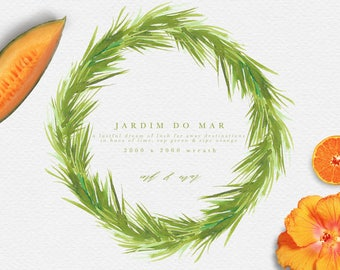 Watercolor Tropical Wreath - Tropical Floral Wreath Clipart - Tropical clipart - Palm Leaf clipart - Greenery Wreath - Greenery Clipart