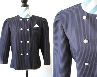 Vintage Pinstripe Navy Womens Jacket with Double Breasted Pearl Rhinestone Buttons - Handkerchief Pocket - 1950s - 1960s - Large / XL