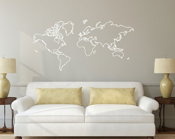 World map wall decal 7 ft wide decal this is your world map outline decal sticker db374 gumiabroncs Gallery