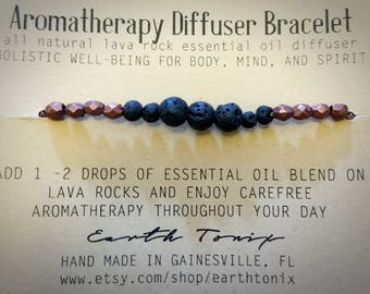 Aromatherapy Diffuser Bracelet with Natural Lava Rock and Metallic Faceted Beads
