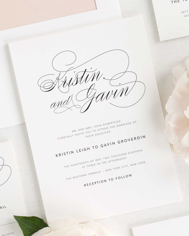 Script Elegance Wedding Invitations Sample