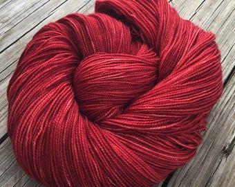 hand dyed sock weight yarn Ruby Daggers Shawl Length Super Skein Superwash Merino Cashmere MCN 600 yard fingering weight Dark Red Rose blood