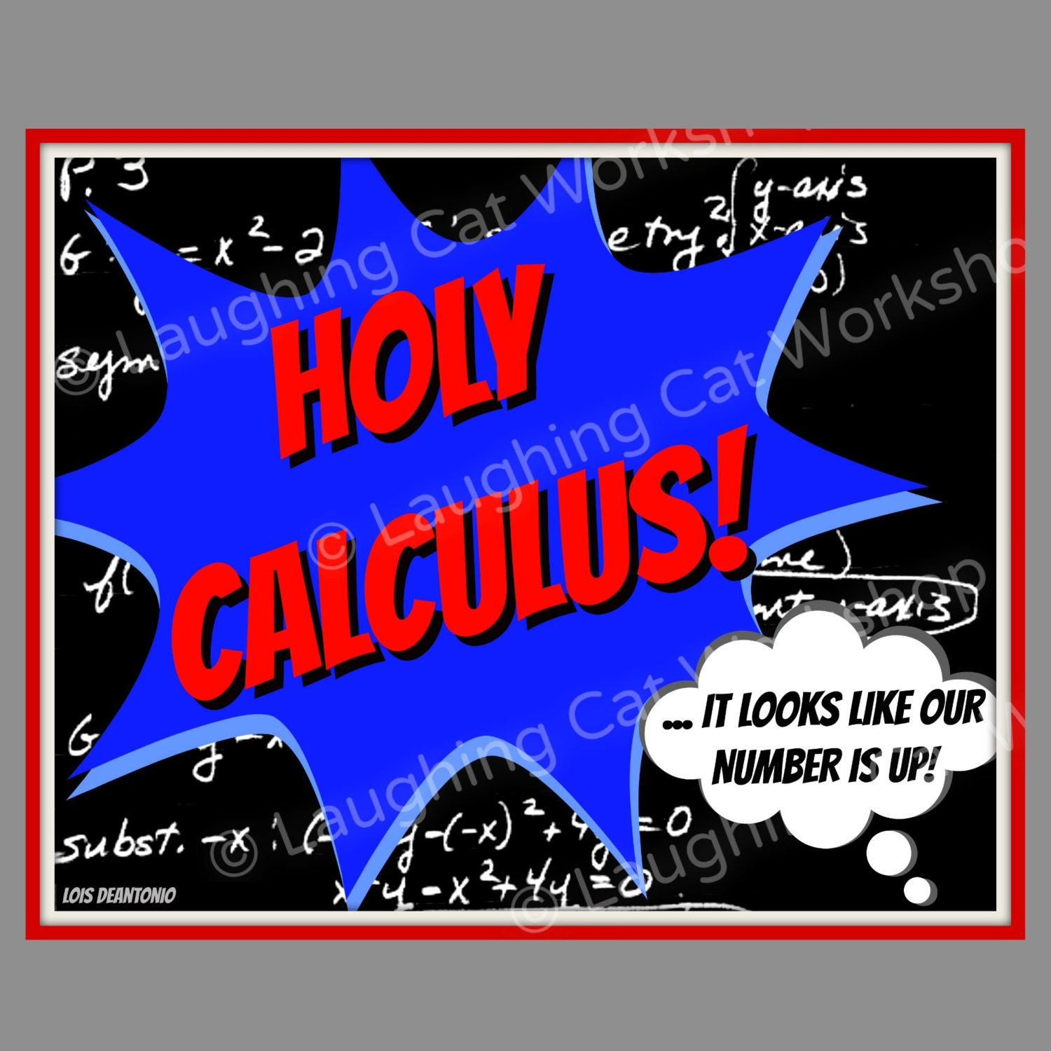 Funny Math art Calculus print Batman superhero wall decor