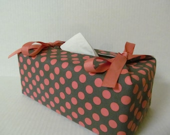 Tissue Box Cover/Peach Dots On Gray