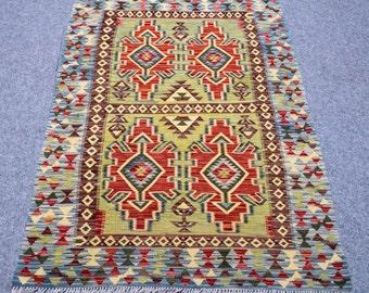 4.0' x 6.4' Turkish Kilim  floor rug boho style vintage handmade rug Turkish carpet living room dinning room kid room gift for her