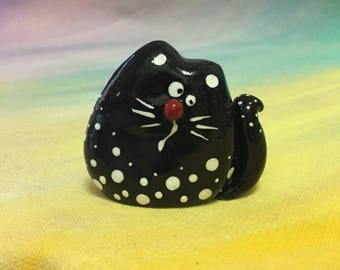 Black Cat Figurine, Cat Miniature, cat collectible , Cat Sculpture, Funny Animal Art, animals decor